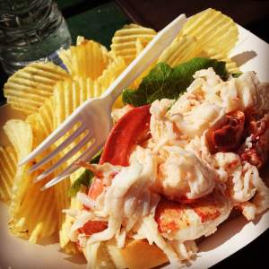 A consistently top-ten rated lobster roll from Five Islands Lobster, Georgetown, ME.